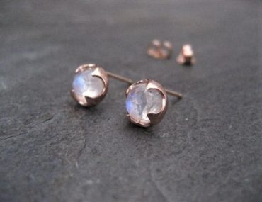 14k rose gold moonstone earrings