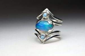 Moonstone ring with opal