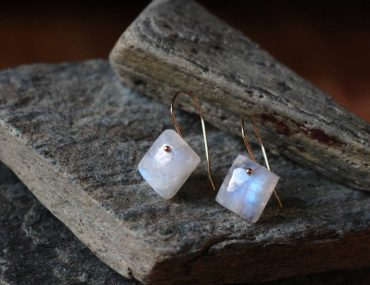 Square moonstone earrings