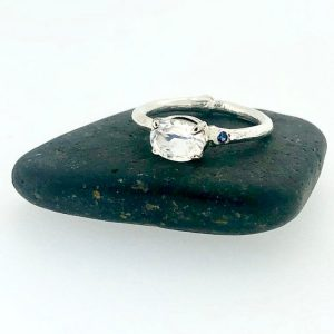 Moonstone engagement ring in white gold