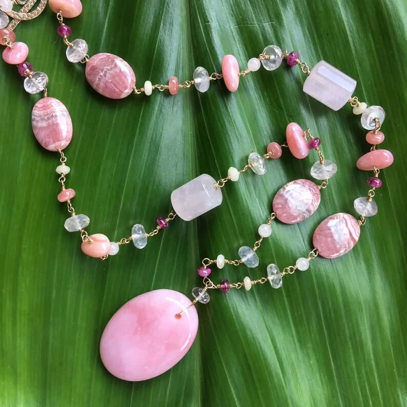 pink opal necklaces
