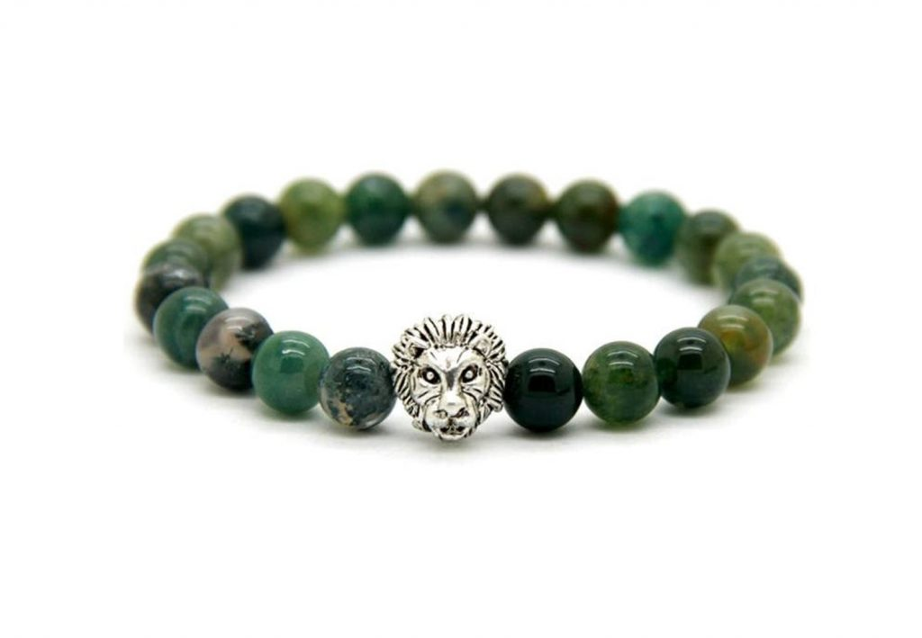 Green Agate Bracelet with Tiger
