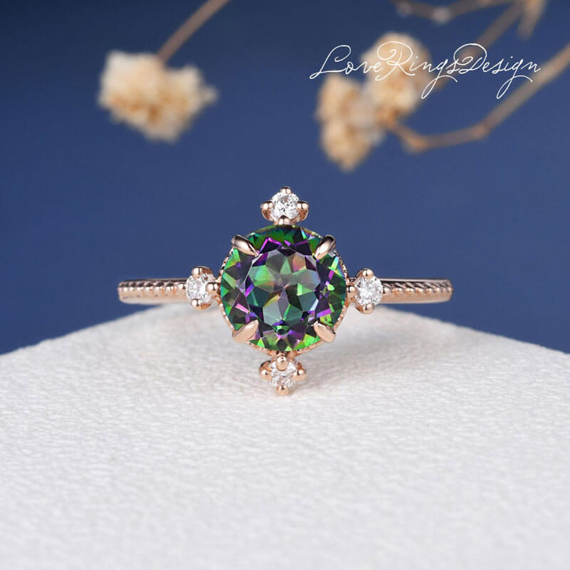 mystic topaz engagement rings