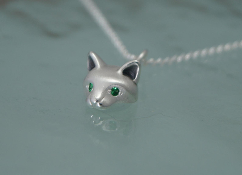 Forest Cat Pendant with Green Garnet Eyes