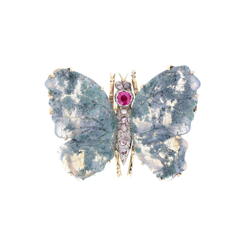 Antique moss agate butterfly brooch