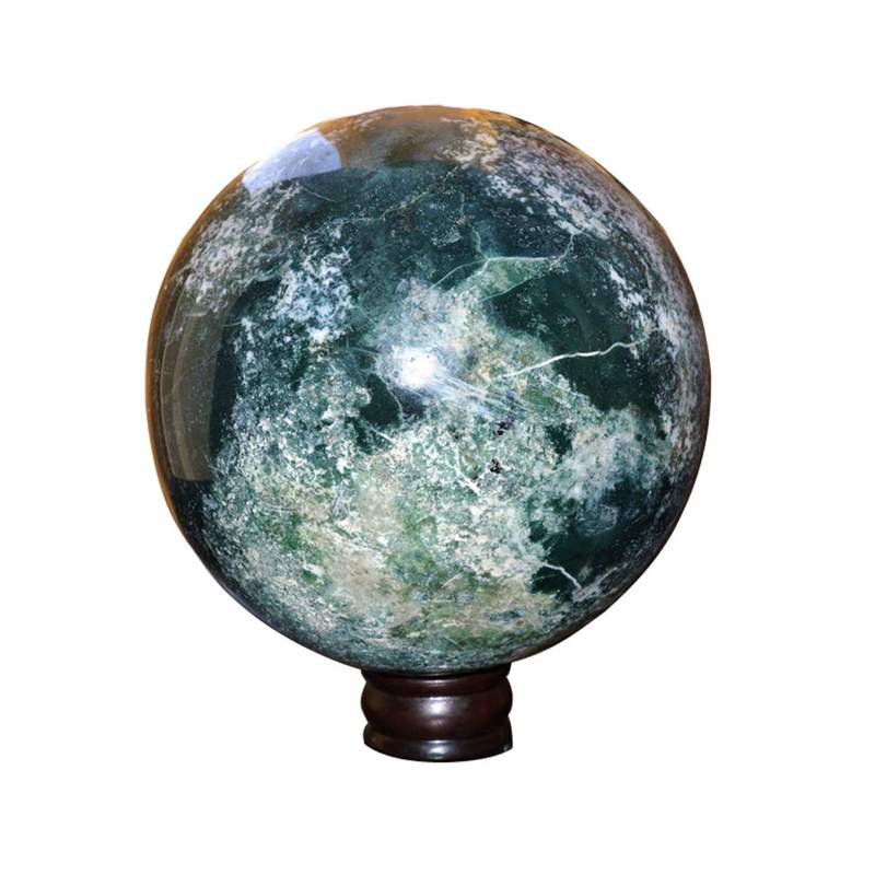 Large moss agate sphere ball