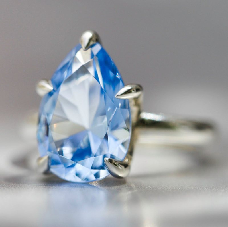 Blue Spinel Solitaire Ring
