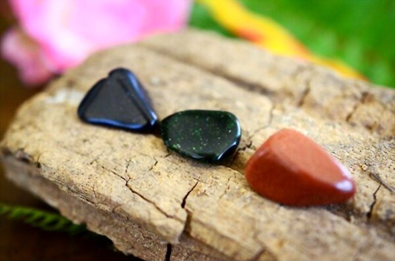 Tumbled Blue Goldstone, Green Goldstone and Red Goldstone