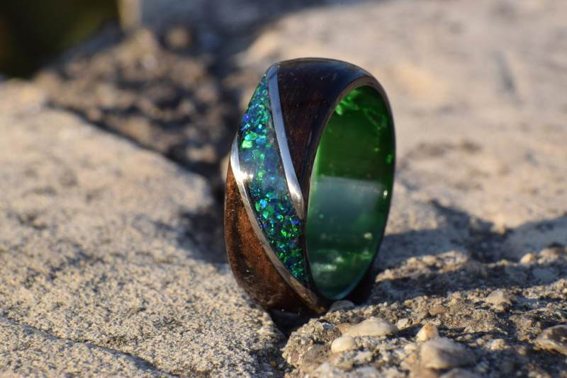 Green Opal Ring Wrapped with Wood