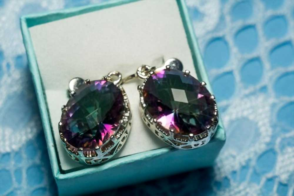 Big Silver Earrings with Mystic Topaz