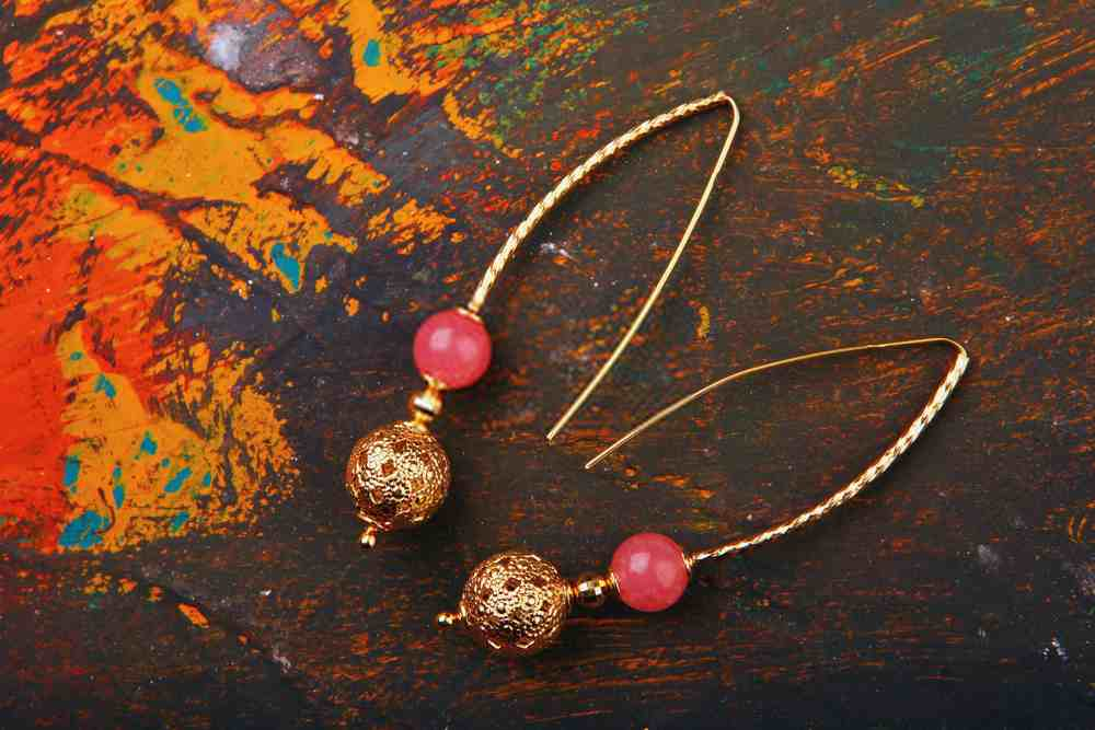 Gold Earrings with Pink Agate