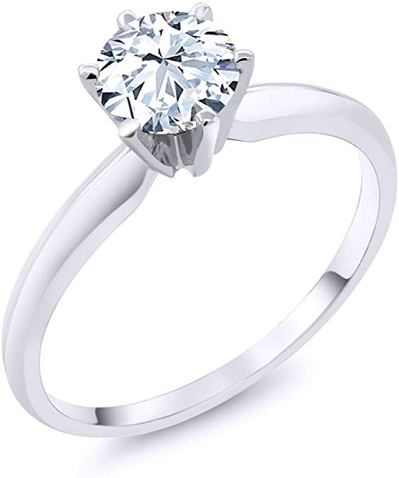 14K White Gold Hearts And Arrows White Sapphire Engagement Ring