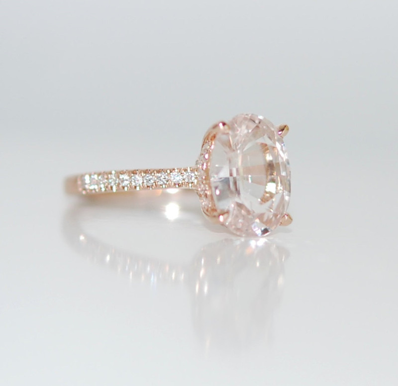 White Sapphire Engagement Ring with Diamond and Rose Gold