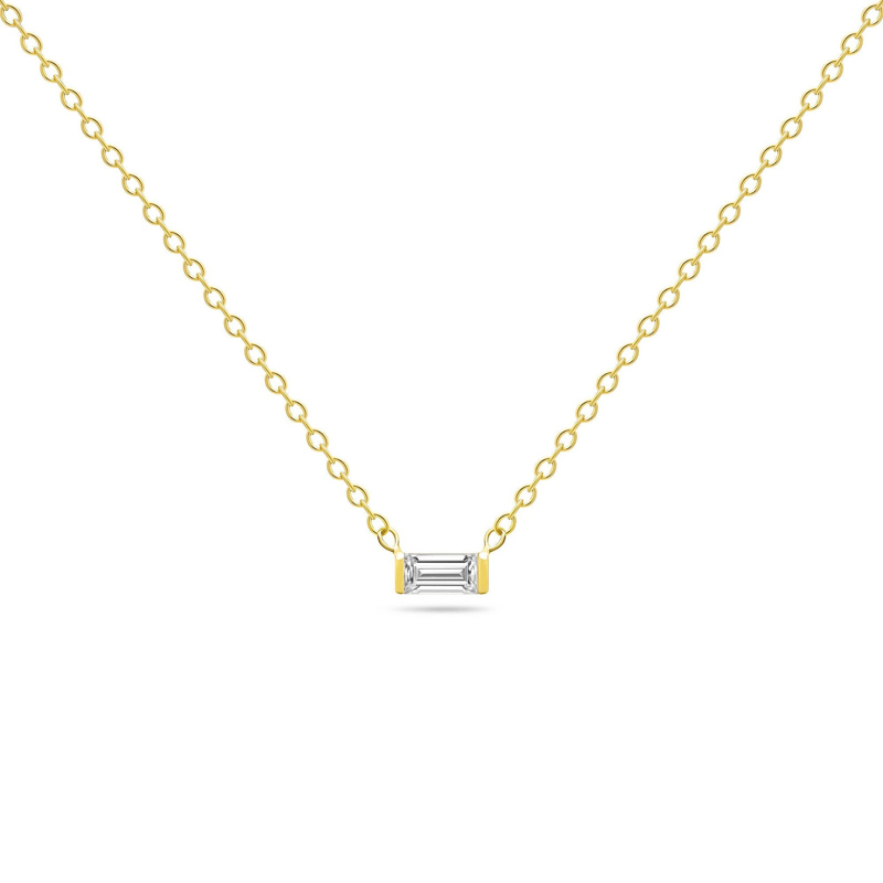 14k solid gold White Sapphire Necklace