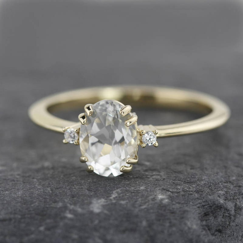 Engagement Ring with White Topaz and White Diamond