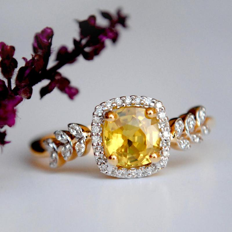 Yellow Sapphire Engagement Ring with  Diamond