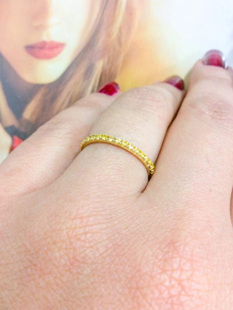 Yellow Sapphire Pave Stacking Ring