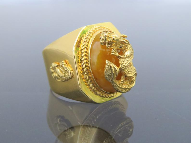 Yellow Jade Ring with Dragon Design